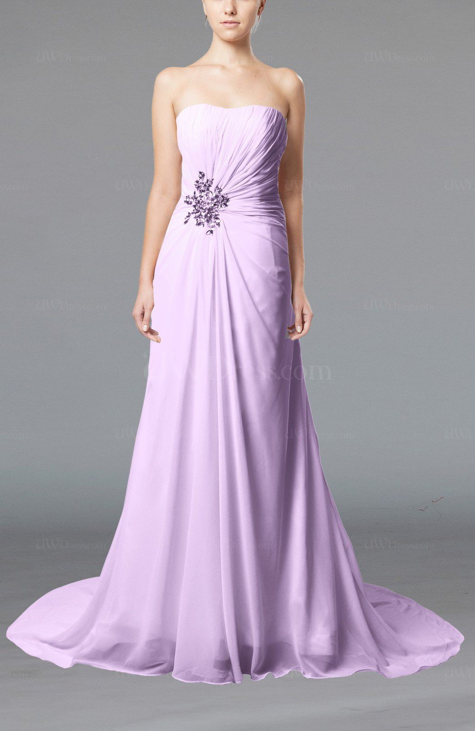 Light purple elegant hall column strapless sleeveless lace for Wedding dress with lights