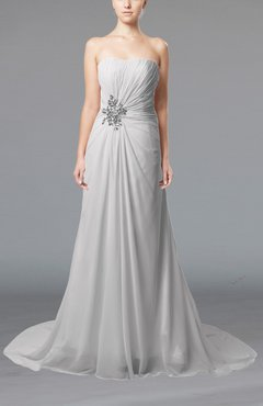 White Elegant Hall Column Strapless Sleeveless Lace up Court Train Bridal Gowns