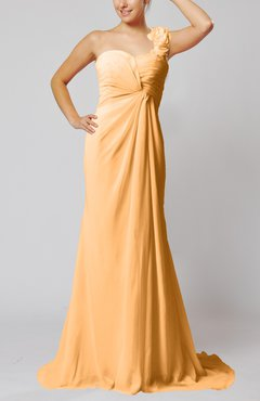 Apricot Elegant Empire Sleeveless Criss-cross Straps Court Train Ruching Party Dresses