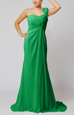 Green Elegant Empire Sleeveless Criss-cross Straps Court Train Ruching Party Dresses