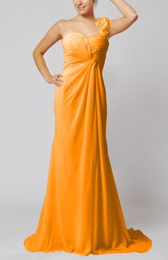 Orange Elegant Empire Sleeveless Criss-cross Straps Court Train Ruching Party Dresses