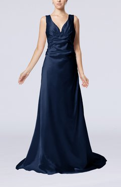Navy Blue Elegant Column V-neck Sleeveless Elastic Woven Satin Appliques Evening Dresses