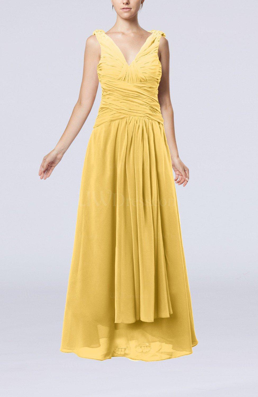 Gold modest sheath v neck chiffon floor length beaded for Gold beaded wedding dress