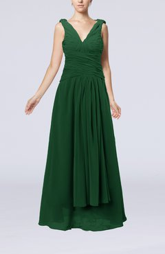 Hunter Green Modest Sheath V-neck Chiffon Floor Length Beaded Wedding Guest Dresses