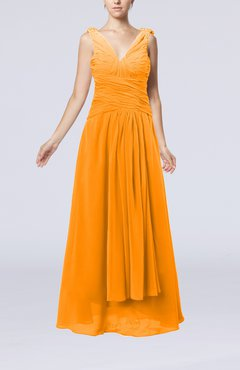 Orange Modest Sheath V-neck Chiffon Floor Length Beaded Wedding Guest Dresses