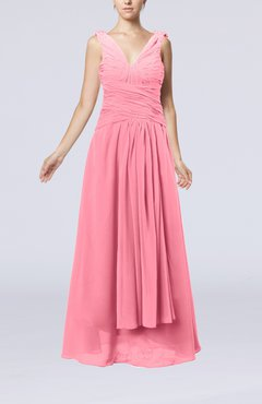 Pink Modest Sheath V-neck Chiffon Floor Length Beaded Wedding Guest Dresses