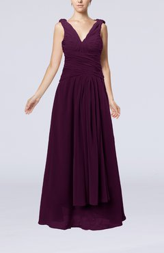 Plum Modest Sheath V-neck Chiffon Floor Length Beaded Wedding Guest Dresses
