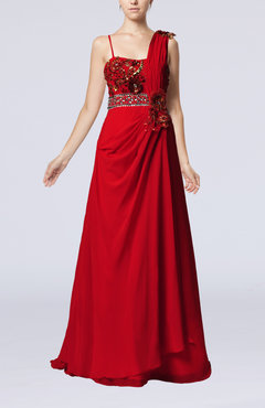 Red Elegant Spaghetti Sleeveless Zip up Chiffon Pleated Evening Dresses
