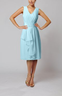 Aqua Romantic Column V-neck Chiffon Ribbon Wedding Guest Dresses