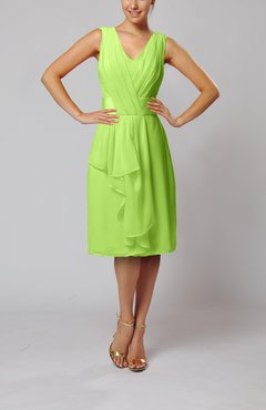 Bright Green Romantic Column V-neck Chiffon Ribbon Wedding Guest Dresses