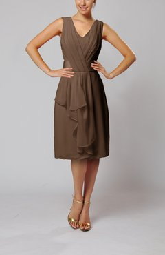 Brown Romantic Column V-neck Chiffon Ribbon Wedding Guest Dresses