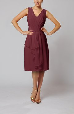 Burgundy Romantic Column V-neck Chiffon Ribbon Wedding Guest Dresses