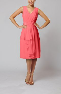 Coral Romantic Column V-neck Chiffon Ribbon Wedding Guest Dresses