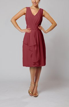Dark Red Romantic Column V-neck Chiffon Ribbon Wedding Guest Dresses