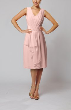 Dusty Rose Romantic Column V-neck Chiffon Ribbon Wedding Guest Dresses