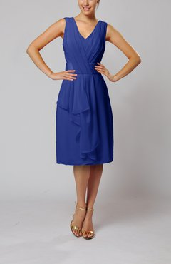 Electric Blue Romantic Column V-neck Chiffon Ribbon Wedding Guest Dresses