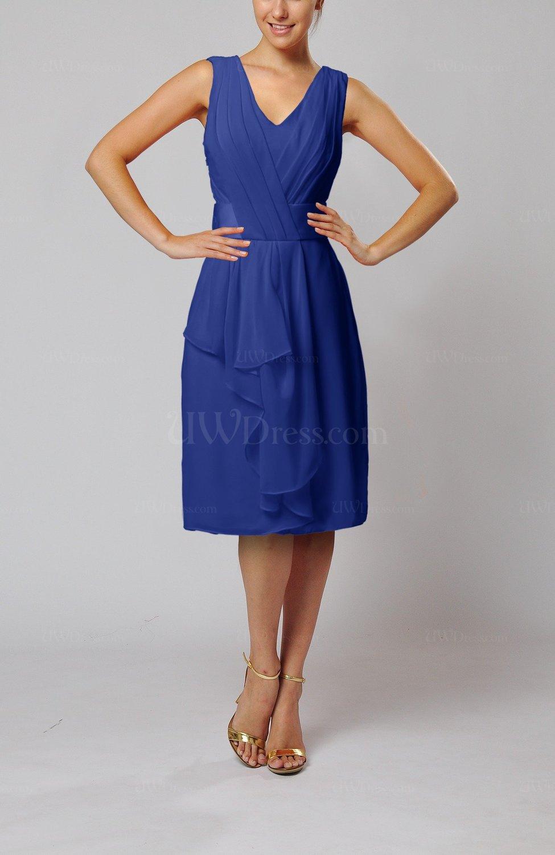 Electric Blue Wedding Guest Dresses : Gt electric blue romantic column v neck chiffon ribbon wedding guest