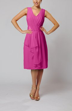 Hot Pink Romantic Column V-neck Chiffon Ribbon Wedding Guest Dresses