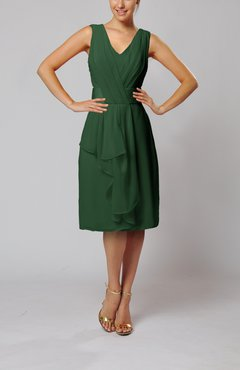 Hunter Green Romantic Column V-neck Chiffon Ribbon Wedding Guest Dresses