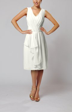 Ivory Romantic Column V-neck Chiffon Ribbon Wedding Guest Dresses