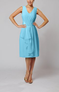 Light Blue Romantic Column V-neck Chiffon Ribbon Wedding Guest Dresses