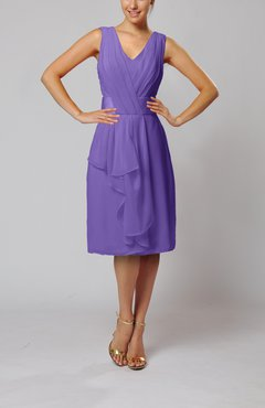 Lilac Romantic Column V-neck Chiffon Ribbon Wedding Guest Dresses