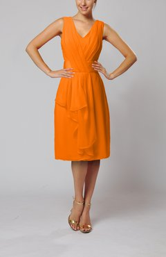 Orange Romantic Column V-neck Chiffon Ribbon Wedding Guest Dresses