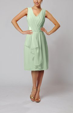 Pale Green Romantic Column V-neck Chiffon Ribbon Wedding Guest Dresses