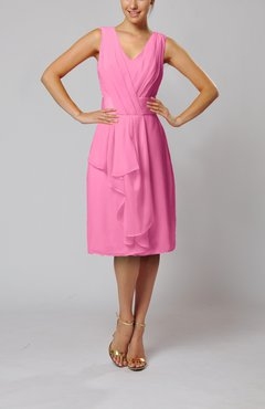 Pink Romantic Column V-neck Chiffon Ribbon Wedding Guest Dresses
