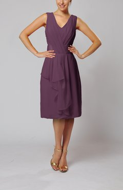 Plum Romantic Column V-neck Chiffon Ribbon Wedding Guest Dresses