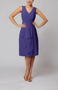 Royal Purple Romantic Column V-neck Chiffon Ribbon Wedding Guest Dresses