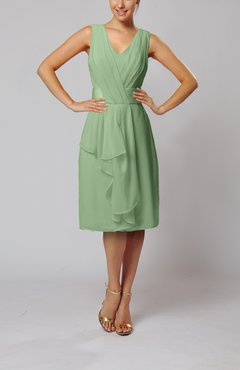 Sage Green Romantic Column V-neck Chiffon Ribbon Wedding Guest Dresses