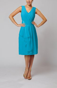 Teal Romantic Column V-neck Chiffon Ribbon Wedding Guest Dresses