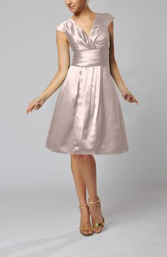 Blush Elegant A-line Short Sleeve Taffeta Knee Length Pleated Bridesmaid Dresses