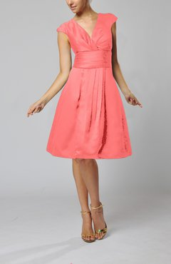 Coral Elegant A-line Short Sleeve Taffeta Knee Length Pleated Bridesmaid Dresses