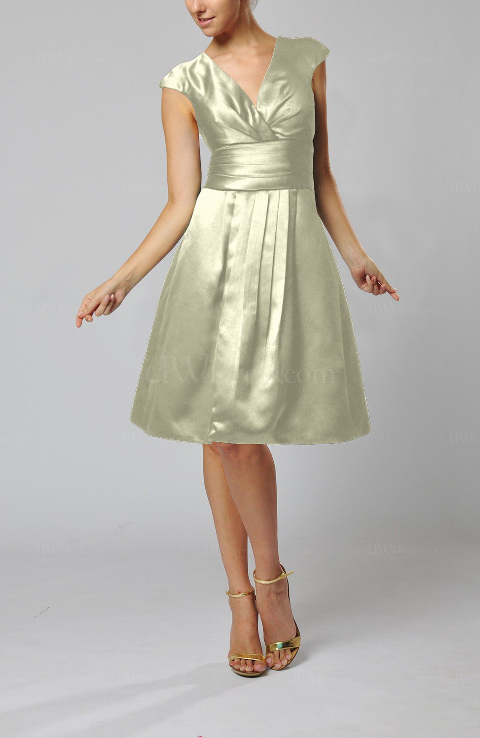 Cream elegant a line short sleeve taffeta knee length for Knee length wedding dresses with sleeves