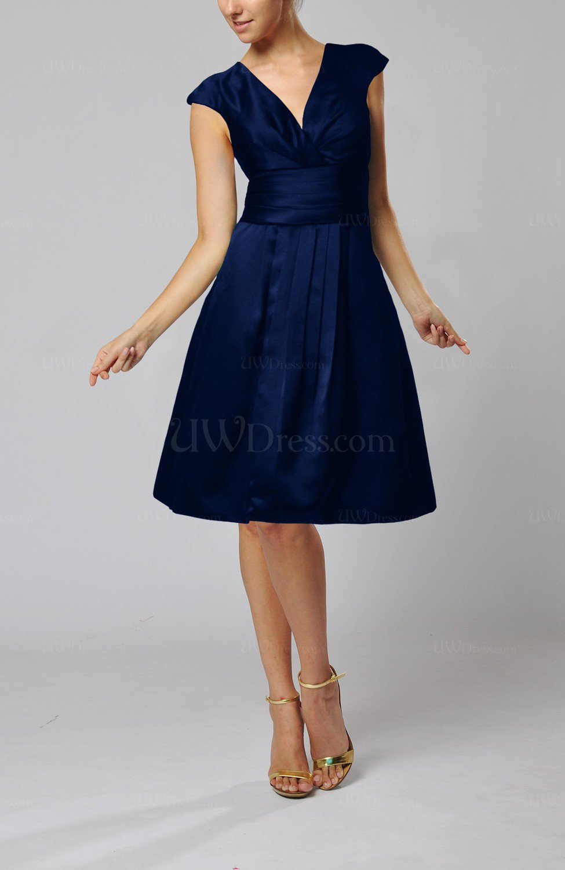 Dark Blue Elegant A Line Short Sleeve Taffeta Knee Length