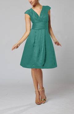 Jade Elegant A-line Short Sleeve Taffeta Knee Length Pleated Bridesmaid Dresses