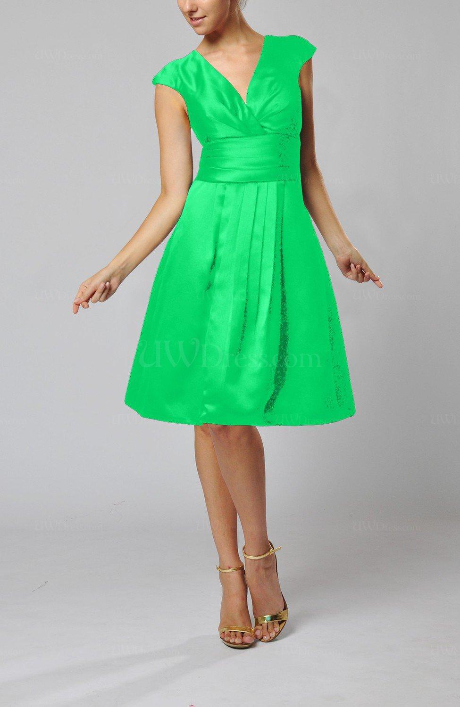 kelly green elegant aline short sleeve taffeta knee