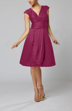 Raspberry Elegant A-line Short Sleeve Taffeta Knee Length Pleated Bridesmaid Dresses