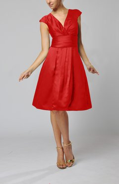Red Elegant A-line Short Sleeve Taffeta Knee Length Pleated Bridesmaid Dresses