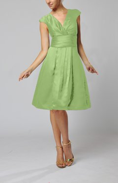 Sage Green Elegant A-line Short Sleeve Taffeta Knee Length Pleated Bridesmaid Dresses