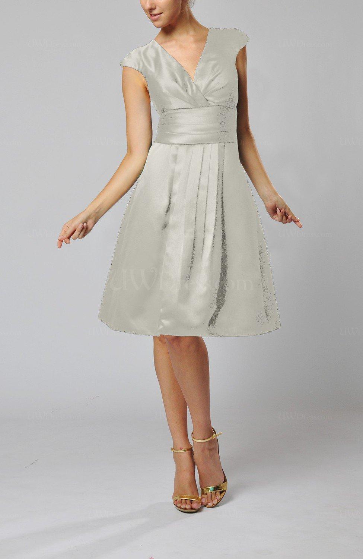 Silver Elegant A Line Short Sleeve Taffeta Knee Length