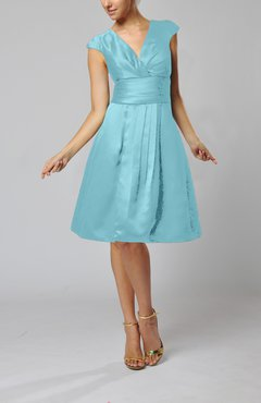 Turquoise Elegant A-line Short Sleeve Taffeta Knee Length Pleated Bridesmaid Dresses
