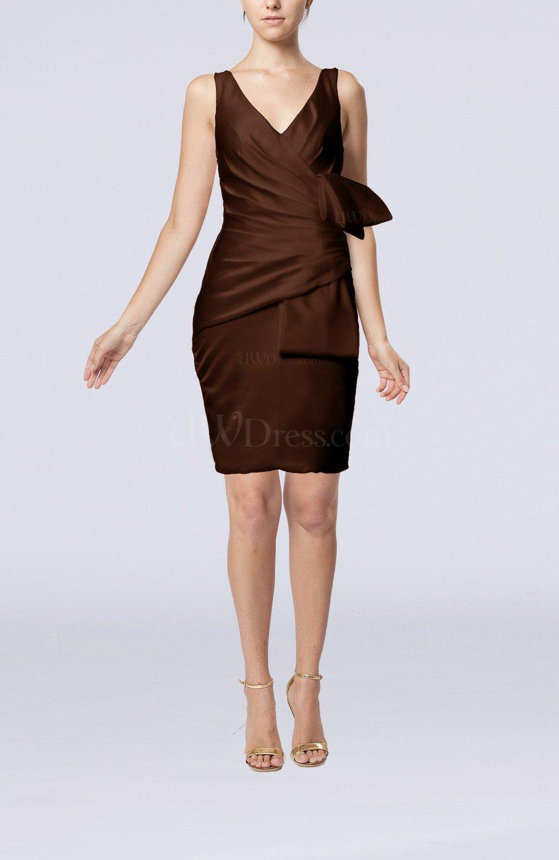 Chocolate Brown Simple Sheath Sleeveless Backless Elastic Woven ...