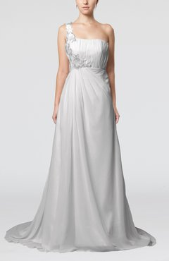 White Romantic Outdoor One Shoulder Sleeveless Backless Chiffon Flower Bridal Gowns