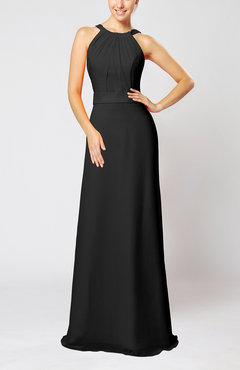 Black Elegant Column Sleeveless Zip up Pleated Evening Dresses