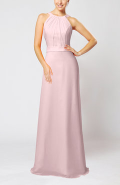 Blush Elegant Column Sleeveless Zip up Pleated Evening Dresses