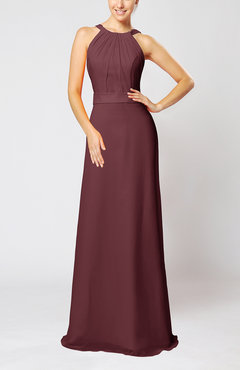 Burgundy Elegant Column Sleeveless Zip up Pleated Evening Dresses