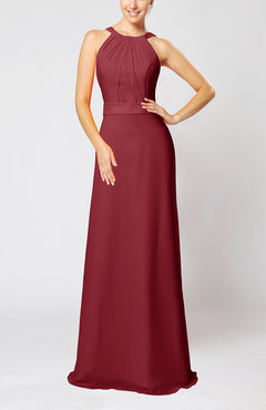 Dark Red Elegant Column Sleeveless Zip up Pleated Evening Dresses